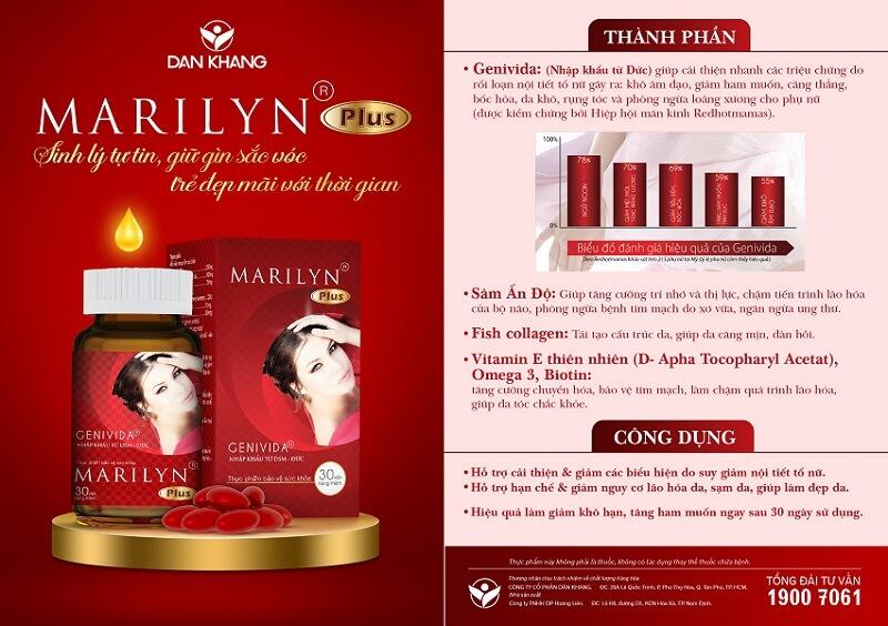 Bảng thành phần và công dụng của sản phẩm Marilyn Plus
