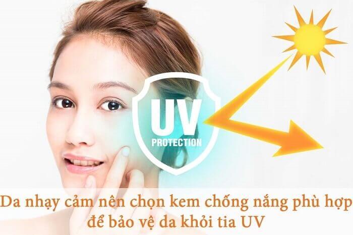 Chọn kem chống nắng cho da nhạy cảm giúp bảo vệ da khỏi tia UV