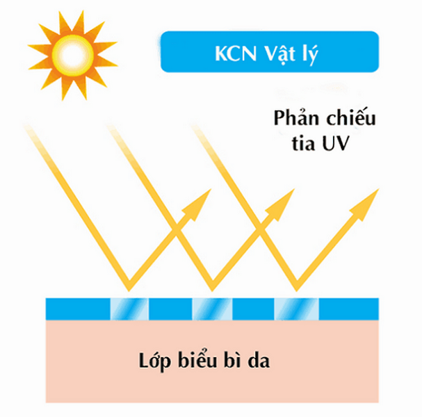 Hình ảnh mô tả cơ chế hoạt động của kem chống nắng vật lý