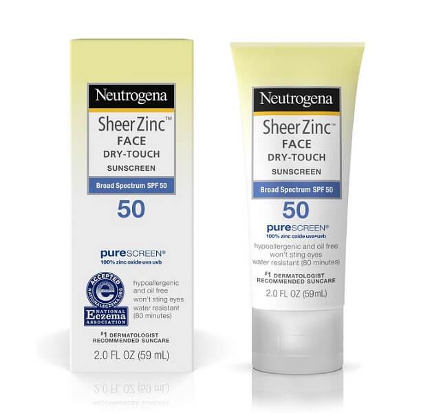 Kem Neutrogena Sheer Zinc Dry-Touch Sunscreen SPF 50+ dành cho bà bầu