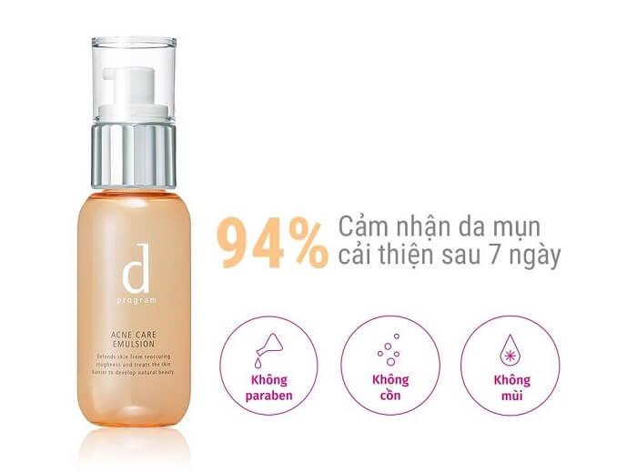 Kem dưỡng ẩm cho da mụn D PROGRAM Acne Care Emulsion