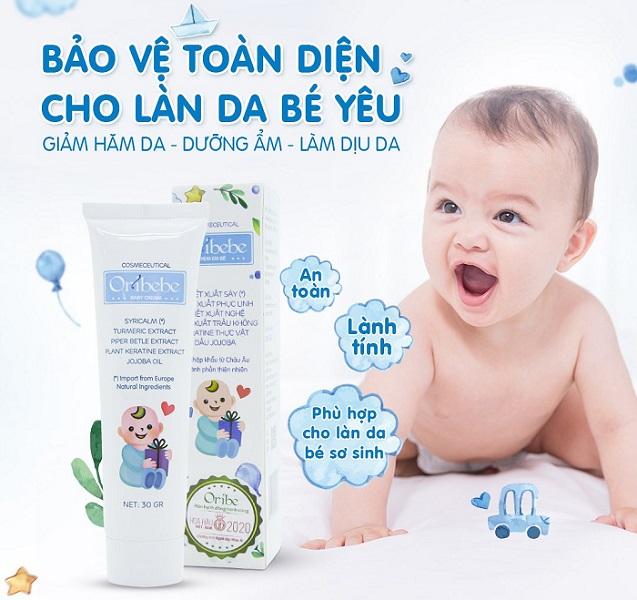 Kem em bé Oribebe giúp dưỡng ẩm và làm mềm mịn da em bé hiệu quả