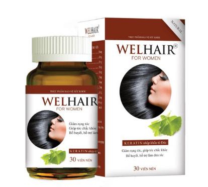Mẫu mã và bao bì của viên uống nuôi dưỡng tóc Welhair