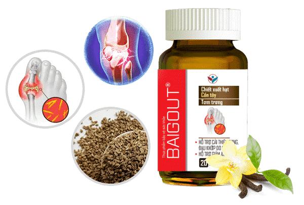 Sản phẩm Baigout với 3 dược liệu quý như Nhũ Hương, Tơm Trơng và hạt Cần Tây giúp giảm đau viêm do gout