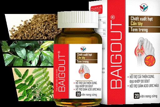Sản phẩm Baigout với thành phần từ thiên nhiên giúp giảm nồng độ acid uric trong máu, giảm đau và kháng viêm tốt