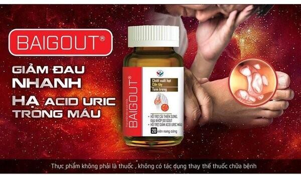 Sản phẩm Baigout giúp giảm hàm lượng acid uric trong máu hiệu quả phù hợp cho người bị bệnh gout
