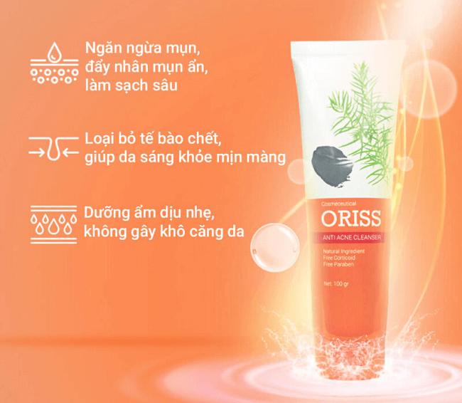 Sữa rửa mặt Oriss với thành phần từ thiên nhiên an toàn và dịu nhẹ tốt cho da mụn