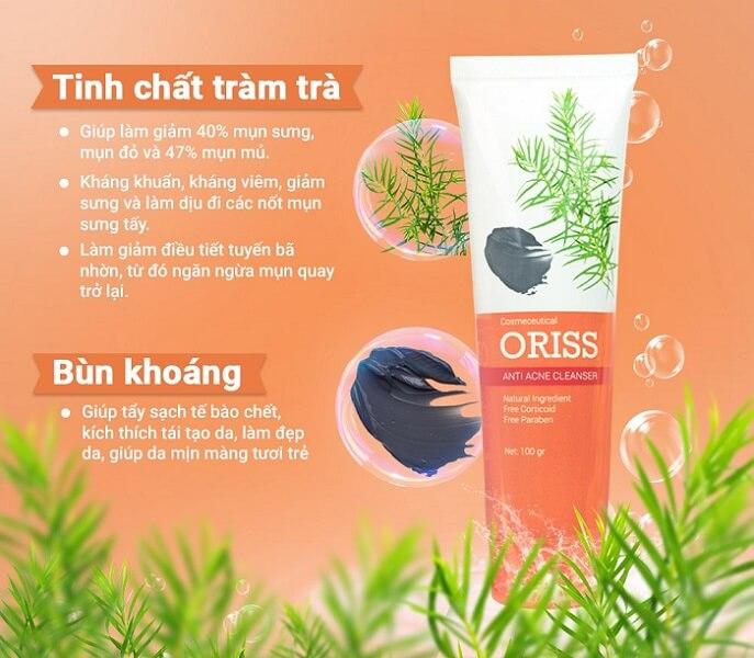 Sữa rửa mặt Oriss với 2 thành phần chính là tinh chất tràm trà và bùn khoáng tốt cho da