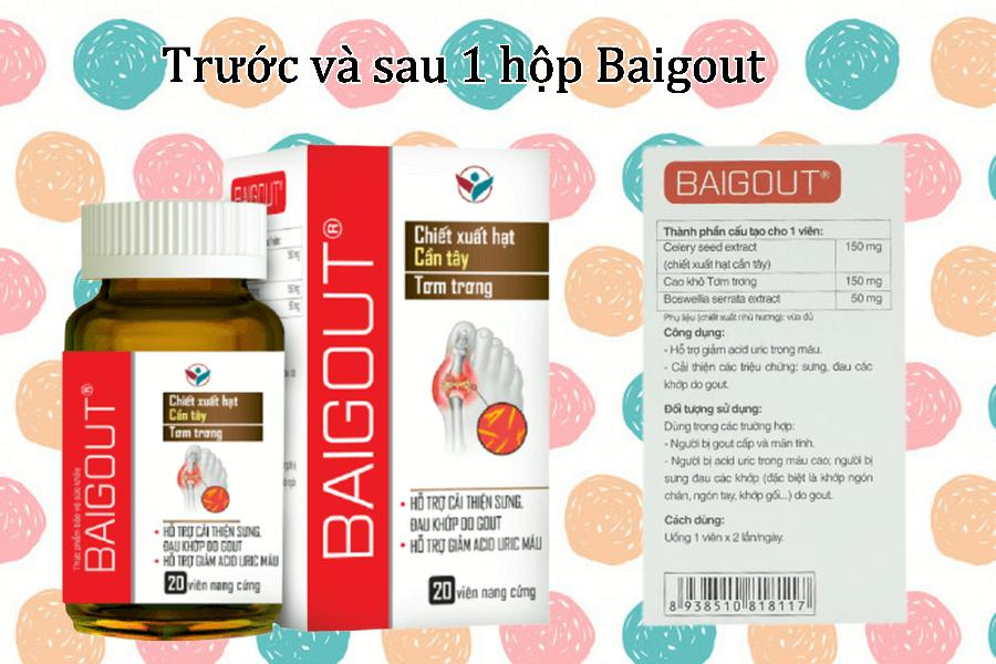 Viên uống Baigout giúp hỗ trợ cải thiện acid urid trong máu